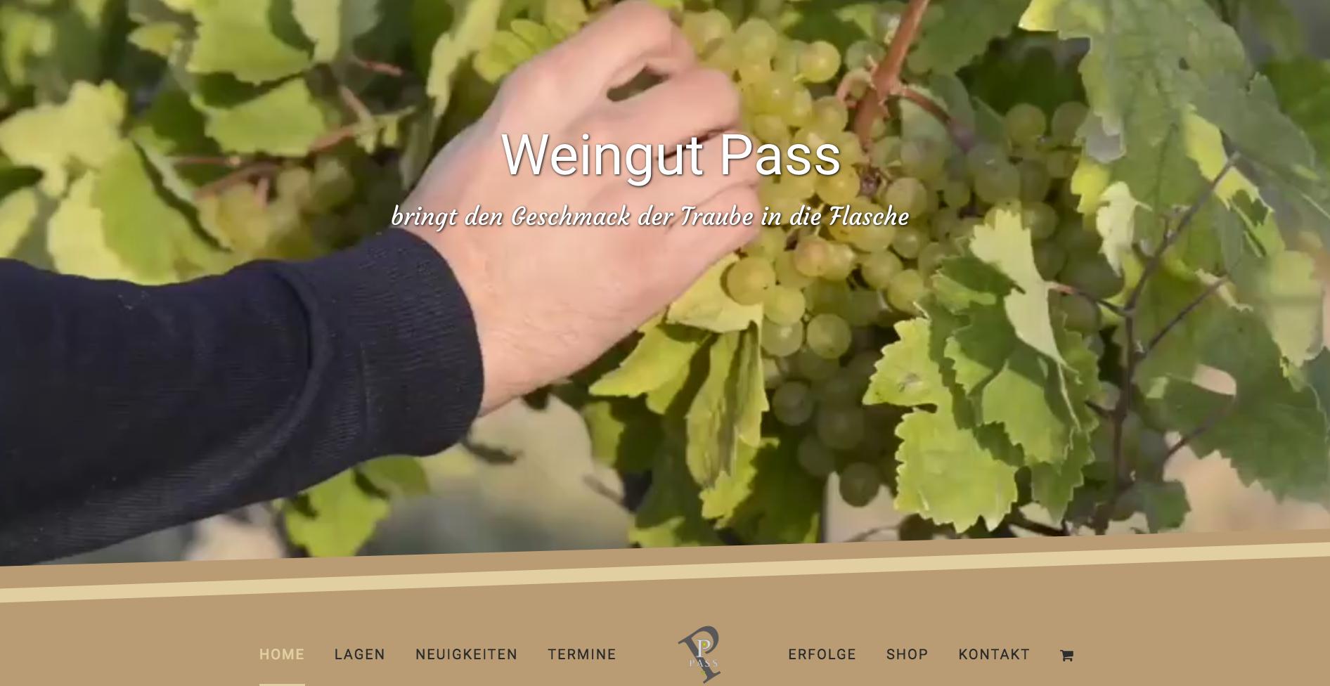 Webseite Desktop Weingut Pass