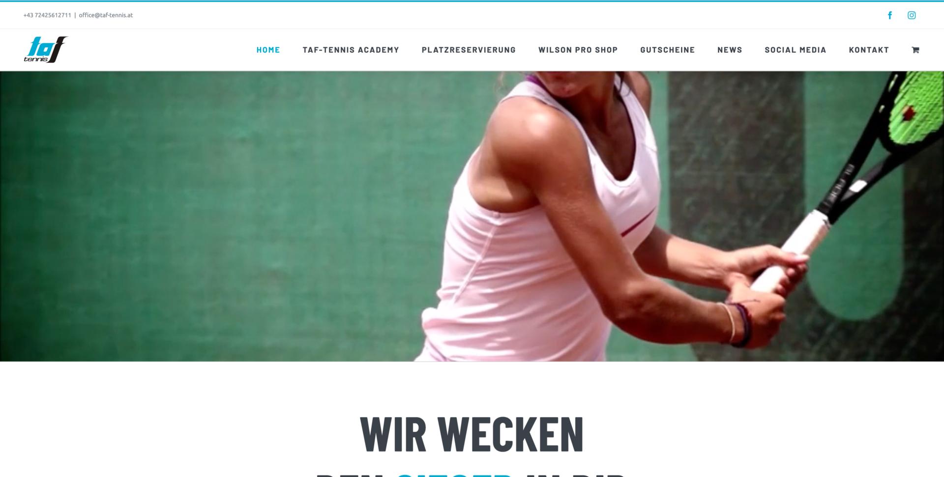 Webseite Desktop TAF