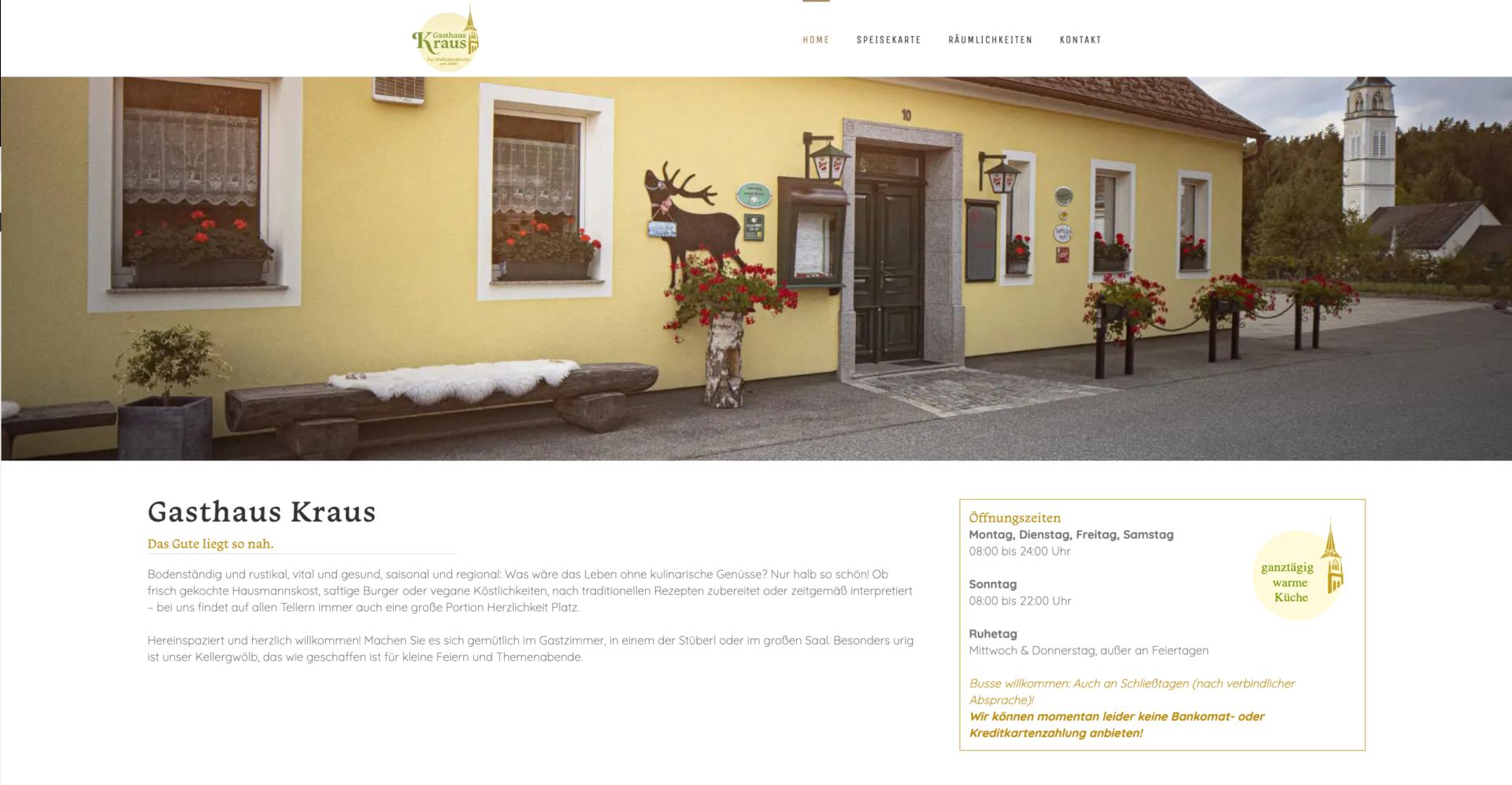 Webseite Desktop Gasthaus Kraus