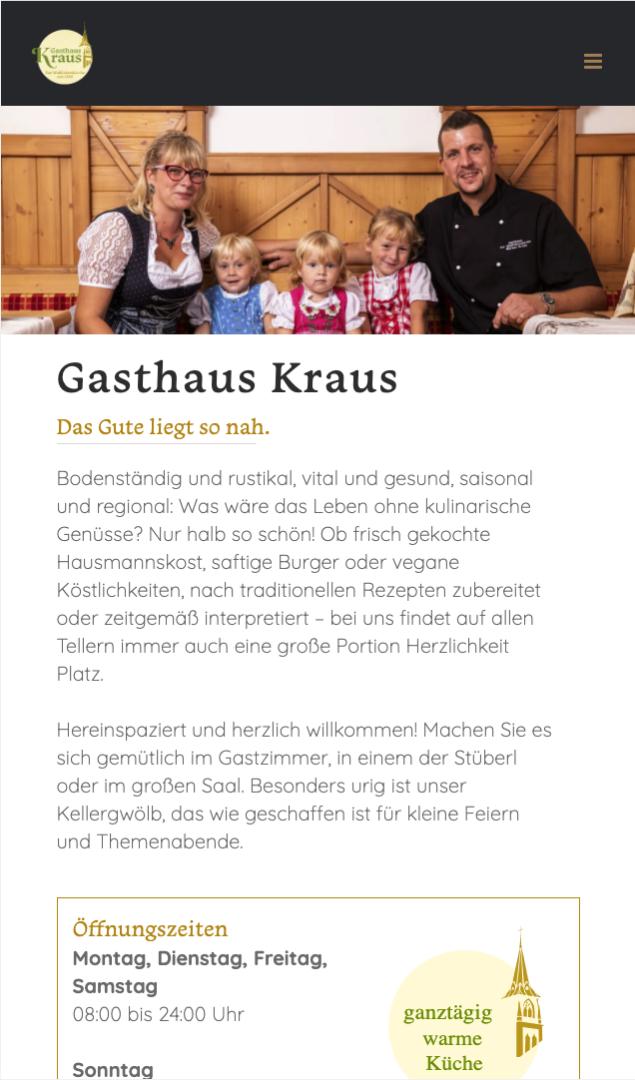 Webseite Mobil Gasthaus Kraus